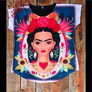 Frida Kahlo stretchy cotton tee